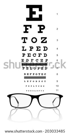 Eye test chart and eyeglasses.Studio shot