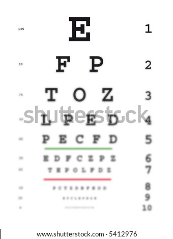 Eye test chart. Getting blurred to the bottom symbolizing bad vision.
