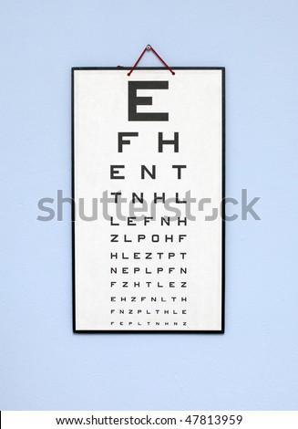 eye test chart - white optometry chart on the blue wall