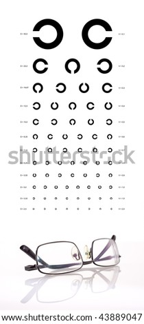 Eye test chart with a black metal frame eyeglasses