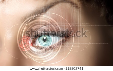 Eye viewing digital information represented by circles and signs #115502761
