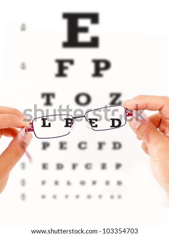 Eye vision test and sight improving with glasses
