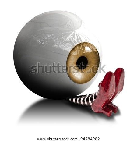Eyeball fallen on the wicket witch