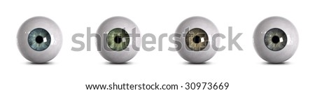 Eyeballs - 4 realistic colors with clipping path