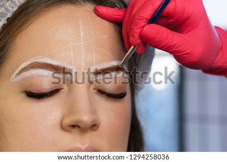 Eyebrow correction. Eyebrow dyeing and hair drawing to create perfect shape. Work of master cosmetologist.