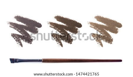 Eyebrow liquid with a brush. Color palette. Brow mascara. Eyebrow pencil . Isolated on white background.