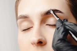 Eyebrow tint, master correction of brow hair women.