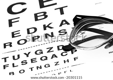 eyechart with eyeglasses glowing from underneath