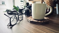 Eyeglasses, Coffee Cup With Eyeglasses, Empty Space, Close up...
