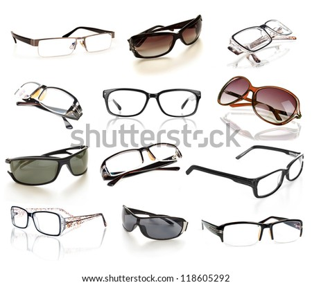 eyeglasses collection isolated on the white backogrund