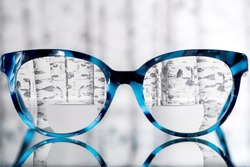 Eyeglasses Glasses with Bifocals and Black blue Frame smudged agaist birch trees. Blurry Vision Concept
