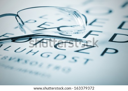 Eyeglasses on a sight test chart