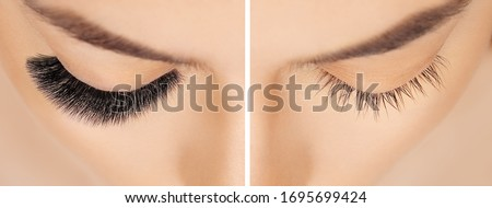Eyelash extension procedure before after. False eyelashes. Close up portrait of woman eyes with long lashes in beauty salon. Eyelash removal procedure close up. Stockfoto ©