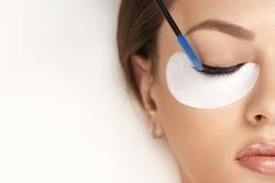 Eyelashes extensions. Fake eyelashes. Eyelash extension procedure.Close up portrait of woman eye with long eyelashes. Professional stylist lengthening female lashes. Master and client in beauty salon.