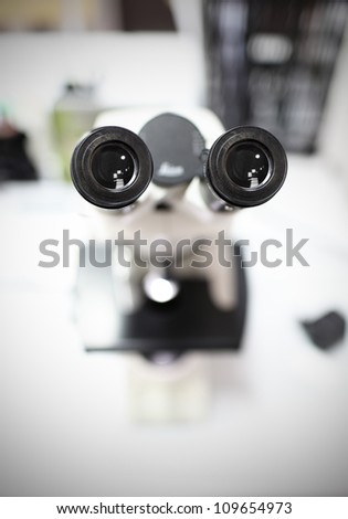 eyepieces of the microscope. photo
