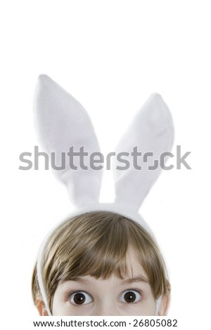 Eyes  beautiful girl in rabbit ears.  Lots of copyspace and room for text on this isolate. Looking in wide-eyed