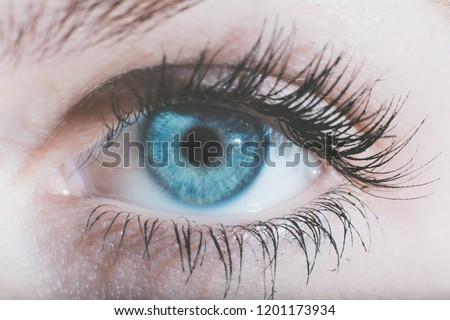 eyes close up macro blue brown iris dark proxy photography Foto stock ©