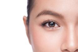 Eyes. Closeup of beautiful asian woman with brown eyes make up eye shadow