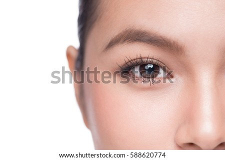 Eyes. Closeup of beautiful asian woman with brown eyes make up eye shadow - Shutterstock ID 588620774
