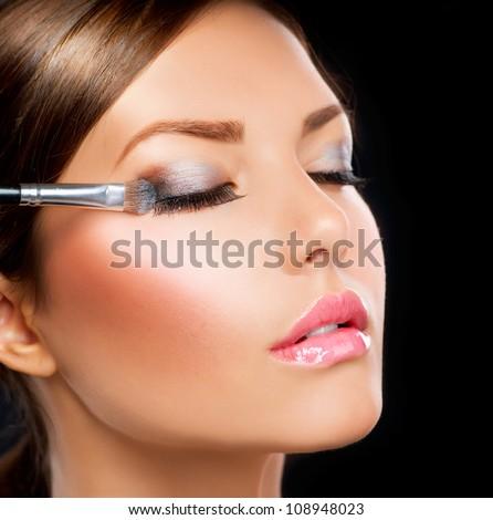 Eyes Makeup.Make-up.Eyes shadows. Eye shadow brush