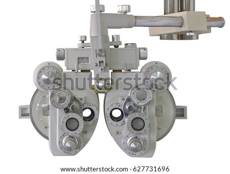Eyes measuring equipment tool isolated on white background. This has clipping path.