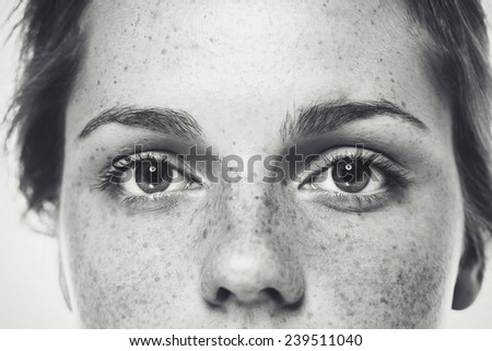Eyes Nose freckles face woman black and white