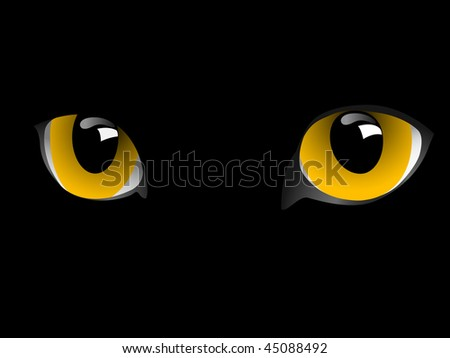 Eyes of cat are in darkness.