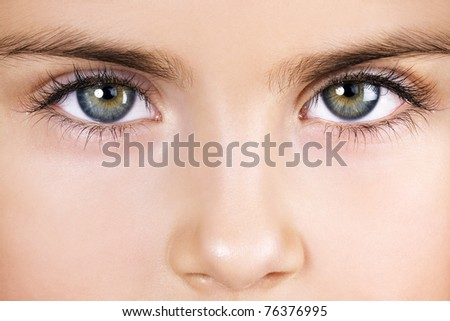 Eyes of five-year-old girl