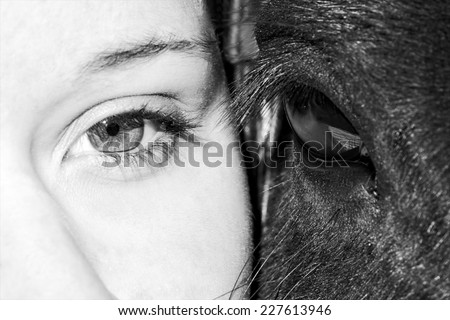 Eyes of girl and horse in black and white photo, artistic photo of horse and woman eyes close up, only eyes cropped