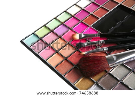 eyeshadow kit for make-up over white background - stock photo