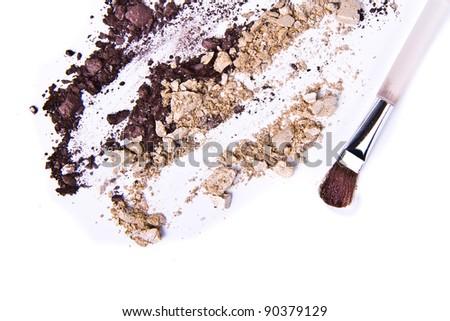 eyeshadow mix with brush on white background
