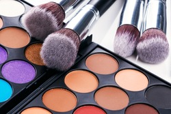 Eyeshadow palette and brushes
