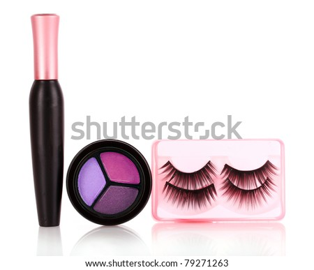 eyeshadows  and mascara and false eyelashes isolated on white