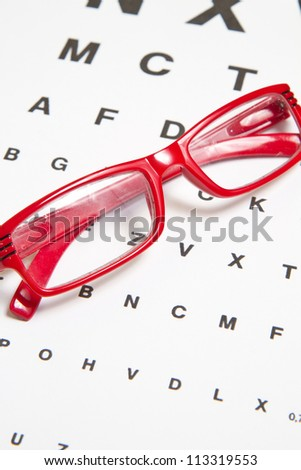 Eyesight test chart with glasses