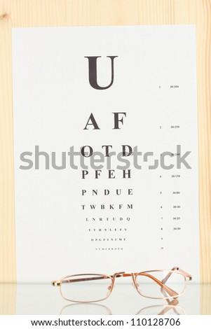 Eyesight test chart with glasses close-up - stock photo
