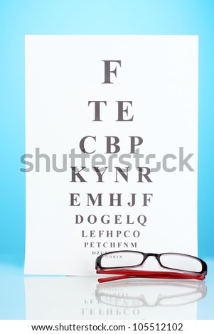 Eyesight test chart with glasses on blue background close-up