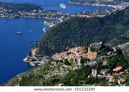 Eze, renowned tourist site on the French Riviera, is famous worldwide for the view of the sea from its hill top.cliff