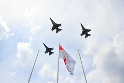 F16 aircraft crossed the Indonesian flag