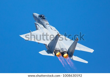 F-15 Eagle in a very close view, with afterburners on