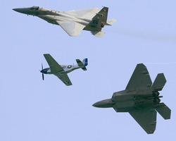 f15,f22 and p51 in trio flight