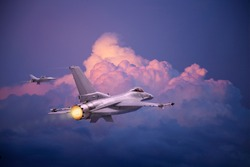 F-16 Fighting Falcon jets (models) fly toward pink and purple clouds at dusk