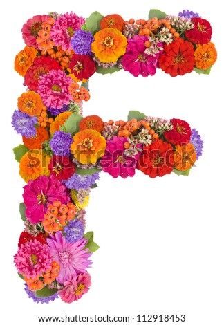 F, flower alphabet isolated on white