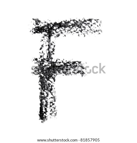 F - Hand-written alphabet isolated over the white background