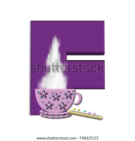 """F, in the alphabet set """"Cup of Joe"""" , is decorated with a porcelain cup of coffee with steam rising from the rim.  Letters are purple."""