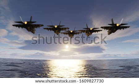 f35 jets flypast formation over the ocean low attitude flying 3d render Stock photo ©