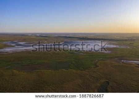 Fülöpszállás Hungary - Aerial view of beautiful sodic lakes at Kiskunság National Park. Hungarian name is Kelemen-szék. Stock fotó ©