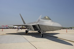 F-22 Raptor On The Ground, Oblique View