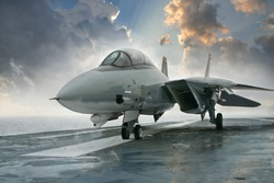 F 14 Tomcat jet fighter on a carrier deck