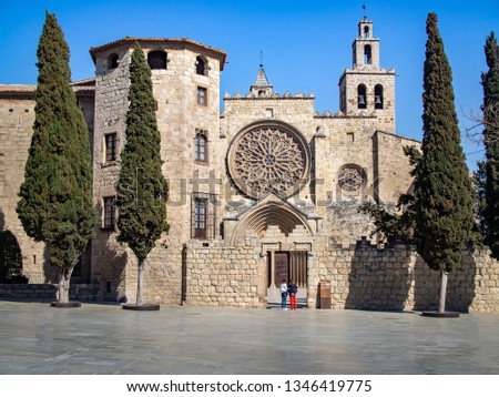 Faсade of Monastery of Sant Cugat --  Benedictine abbey in Sant Cugat del Vallès, Catalonia, Spain.