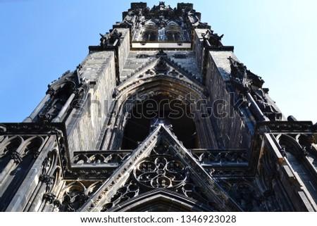 Faсade of  St. Nikolas Church (ehemalige Hauptkirche St. Nikolai, Mahnmal St. Nikolai), Hamburg, Germany.